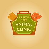Logo with animals for animal clinic. Health care. Veterinary hospital. Cat and dog. Cat and dog in the bag-carrying