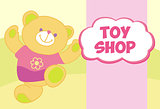 Vector banner with a teddy bear. Template for advertising children's store. Toy shop.