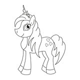 Royal pony with a magnificent mane and tail, coloring book page for children