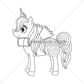 Fairy foal with wings, coloring book page for children