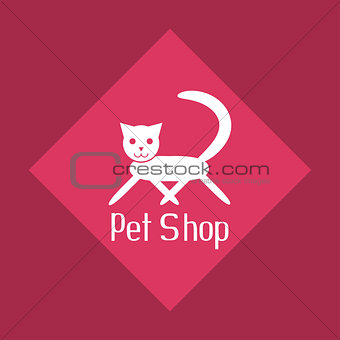Flat cat sign for pet shop logo