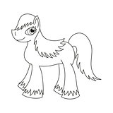 Pony with a magnificent mane and tail, coloring book page for children