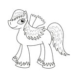 Sly fairy foal with wings, coloring book page