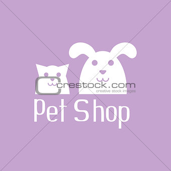 Cat and dog sign for pet shop logo