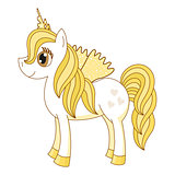 Vector illustration of cute horse princess, royal golden pony