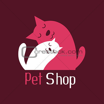 Cat and dog tender embrace, sign for pet shop logo