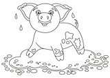 Funny piggy standing on dirt puddle, coloring book page