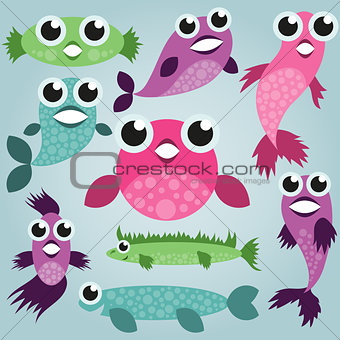 Cartoon sea fish set