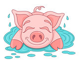 Funny piggy lies and smiling on water puddle