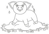 Funny piggy standing on water puddle, coloring book page