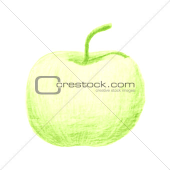 Sketch of green apple drawn by colored pencils