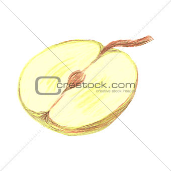 Sketch half of green apple drawn by colored pencils