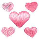 Sketch red hearts drawn by colored pencils