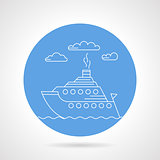 Cruise ship blue vector icon