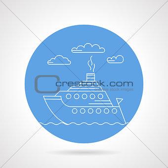 Cruise ship blue vector icon