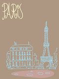 Travel background postcard Paris