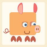Pig stylized icon symbol