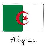 Algeria doodle flag