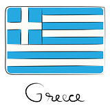 Greece doodle flag