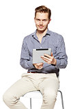 Holding a tablet
