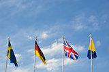 Waving international flags