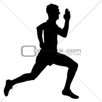 Athlete on running race, silhouettes. Vector illustration.