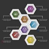 3D hexagon shape infographic on black background