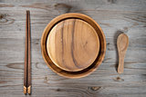 Empty plate, spoon and chopsticks