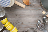 Baking tools from overhead view