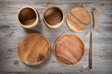 Various design empty plates on wood desk