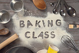 Word baking class written in white flour