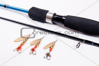 Fishing rod isolated on white.
