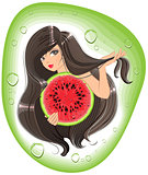 Brunette girl holding a watermelon. Template label shampoo