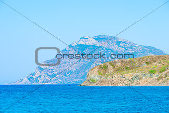 beautiful mountains and clear Aegean Sea