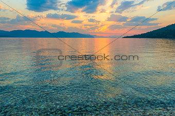 calm sea and beautiful clouds at dawn