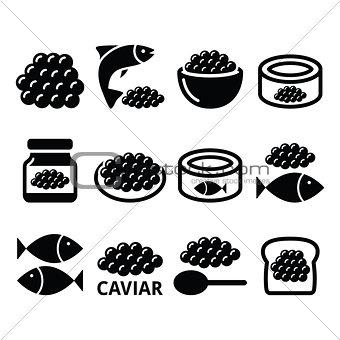 Caviar, roe, fish eggs icons set