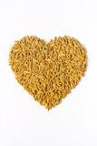 rice lover sign. raw rice grains in heart, love shape