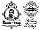 set of emblems on a theme barber shop