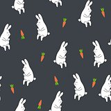 Seamless floral pattern with rabbit and carrot