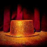 golden top hat on a stage