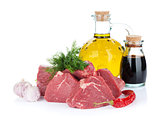 Fillet steak beef meat with spices and condiments