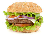Fresh burger with beef, cheese, onion and tomatoes