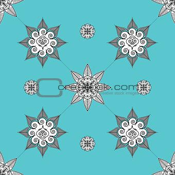 Folk inspired turquoise wallpaper