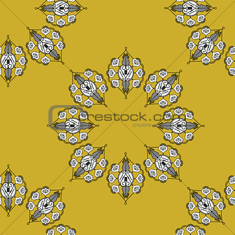 Folk inspired wallpaper with flower shapes gold