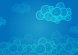 Stylized spiral clouds on the blue background