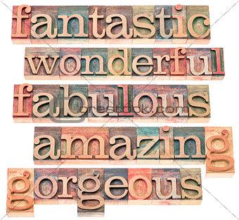 positive words typography