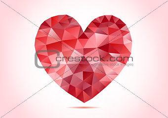 abstract red low poly heart, vector
