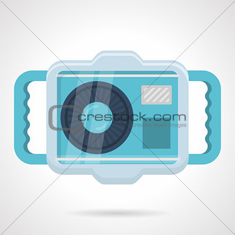 Flat color vector icon for scuba camera