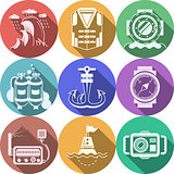 Diving flat color icons vector collection