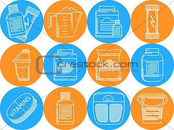 Blue and orange vector icons for sports nutrition